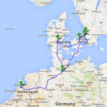Route from Amsterdam