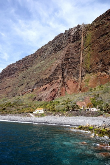The idyllic Fajã dos Padres with its lift shaft in the background