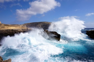 Very heavy wave crashing on the cliffs